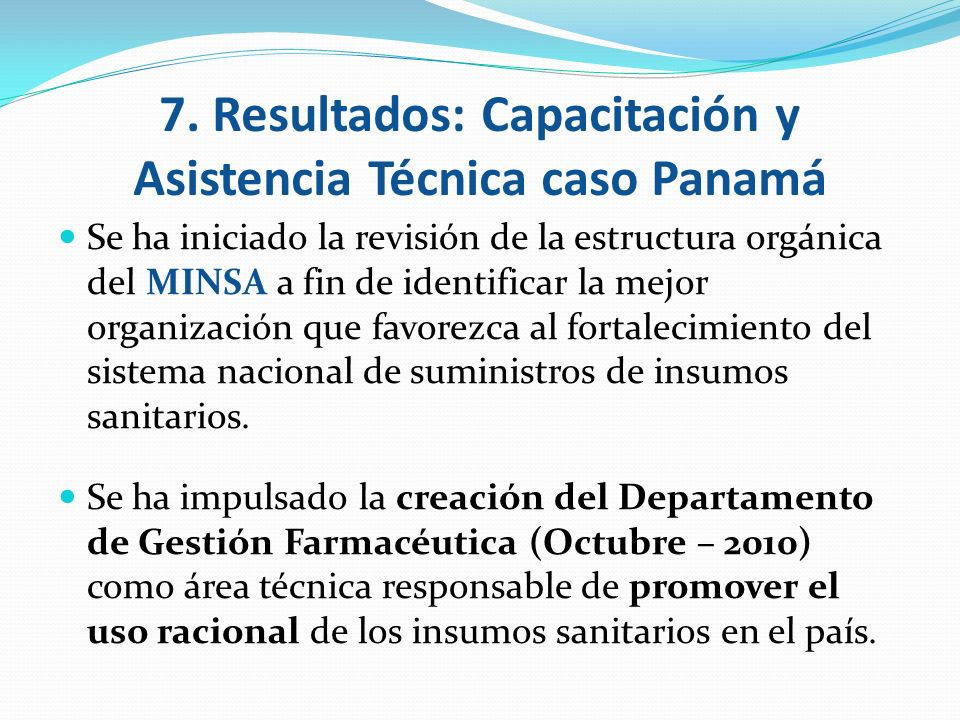 7. Resultados: Capacitación y Asistencia Técnica caso Panamá