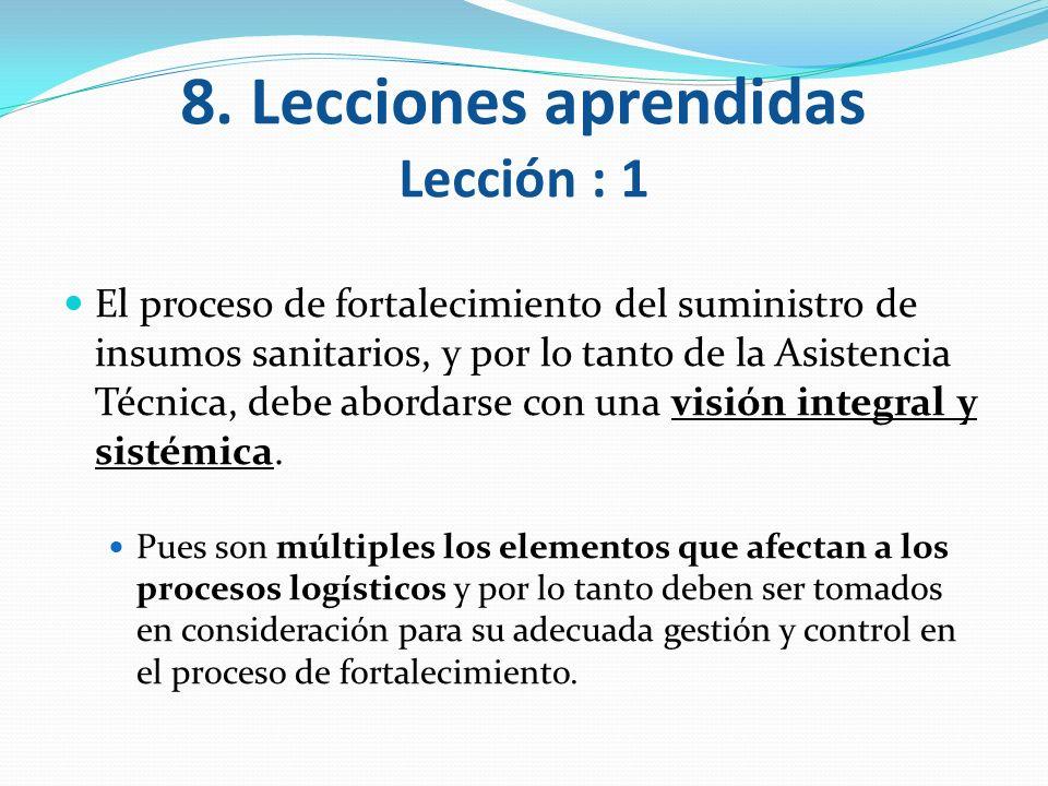 8. Lecciones aprendidas Lección : 1