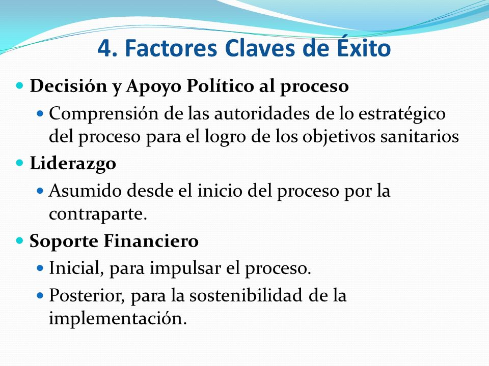 4. Factores Claves de Éxito