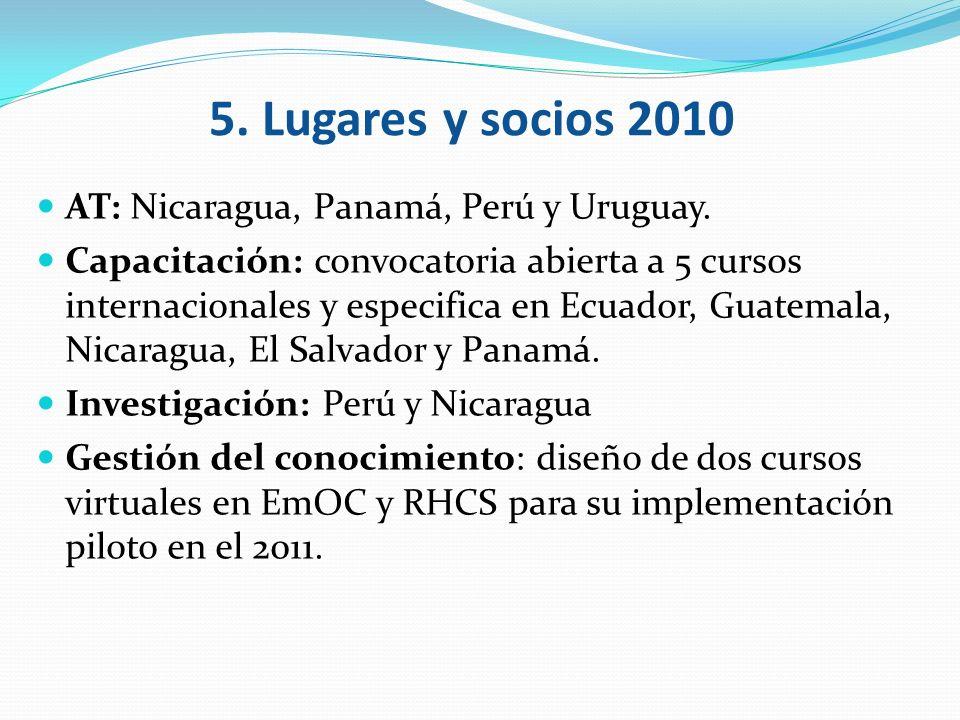 5. Lugares y socios 2010 AT: Nicaragua, Panamá, Perú y Uruguay.