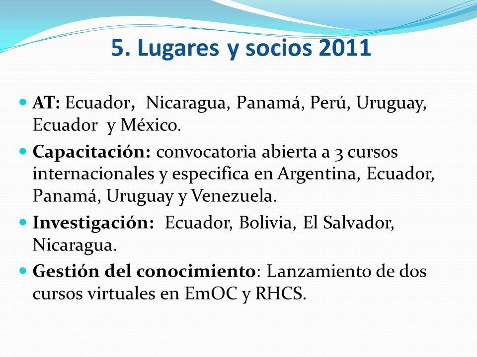 5. Lugares y socios 2011 AT: Ecuador, Nicaragua, Panamá, Perú, Uruguay, Ecuador y México.