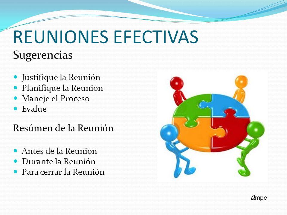 REUNIONES EFECTIVAS Sugerencias ampc Resúmen de la Reunión