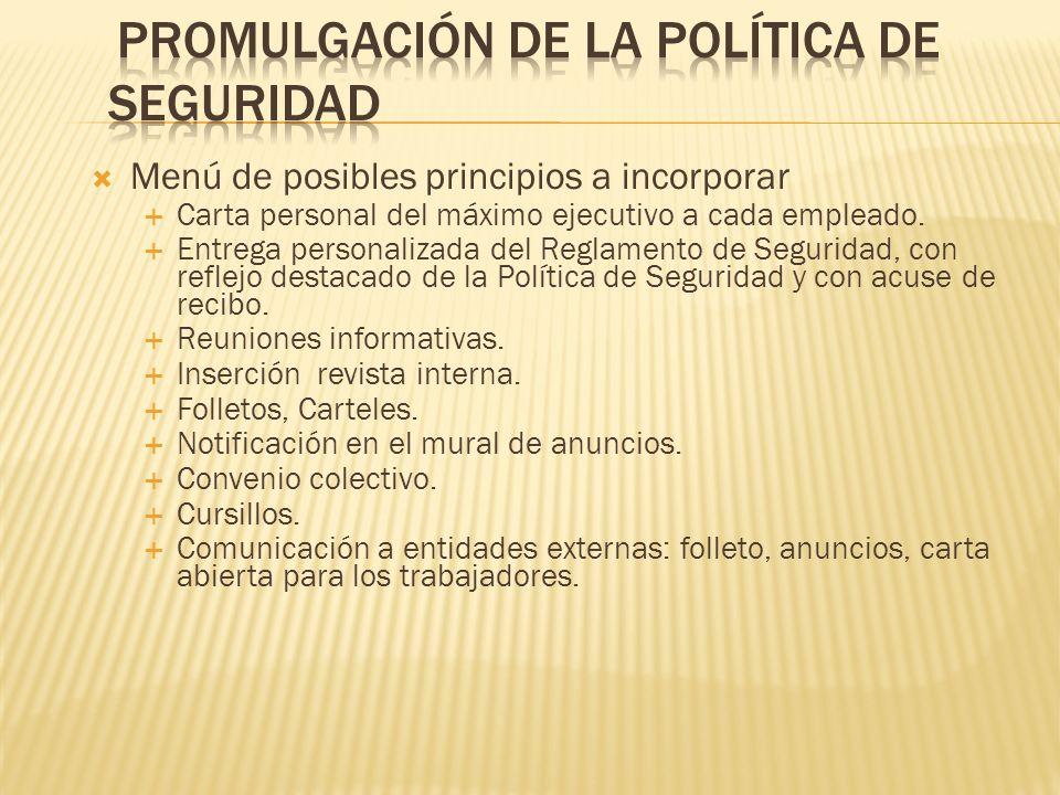 PROMULGACIÓN DE LA POLÍTICA DE SEGURIDAD