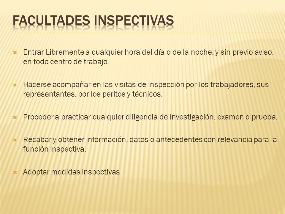 Facultades Inspectivas