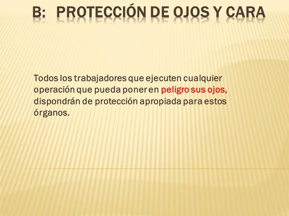 B: PROTECCIÓN DE OJOS Y CARA