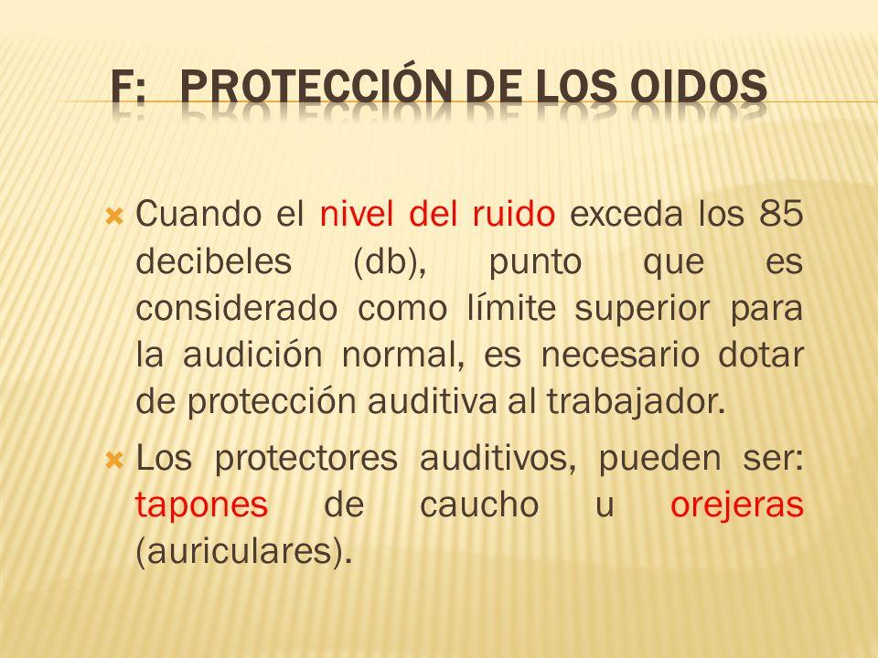 F: PROTECCIÓN DE LOS OIDOS