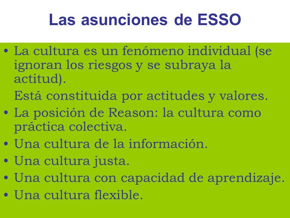 Las asunciones de ESSOLa cultura es un fenómeno individual (se ignoran los riesgos y se subraya la actitud).