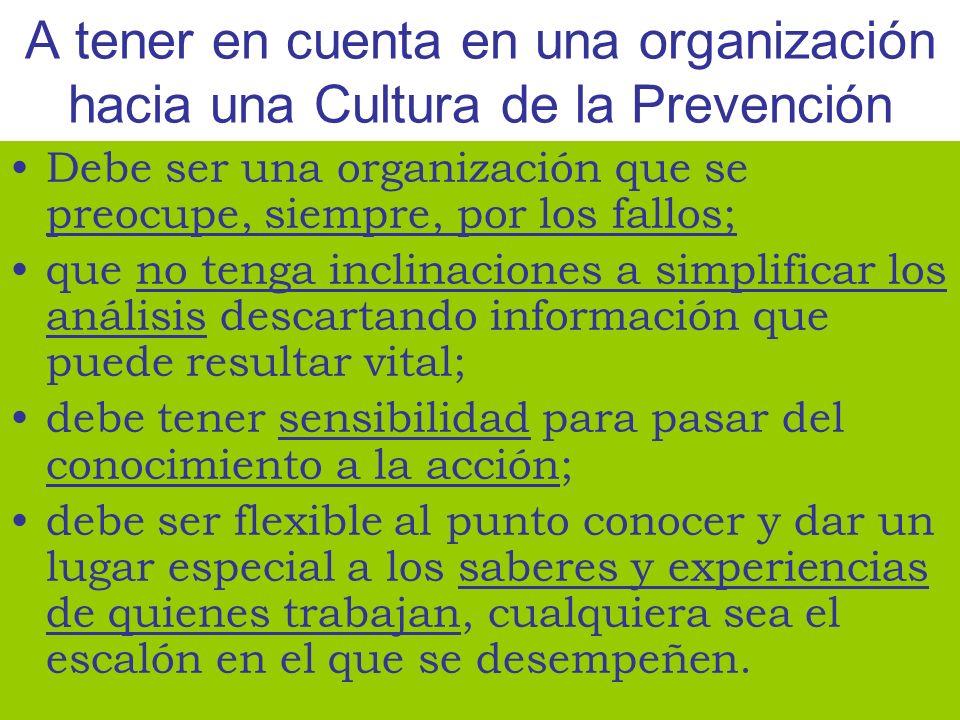 A tener en cuenta en una organización hacia una Cultura de la Prevención