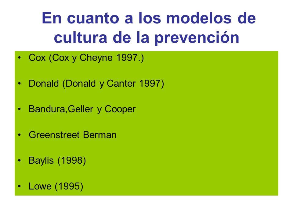En cuanto a los modelos de cultura de la prevención