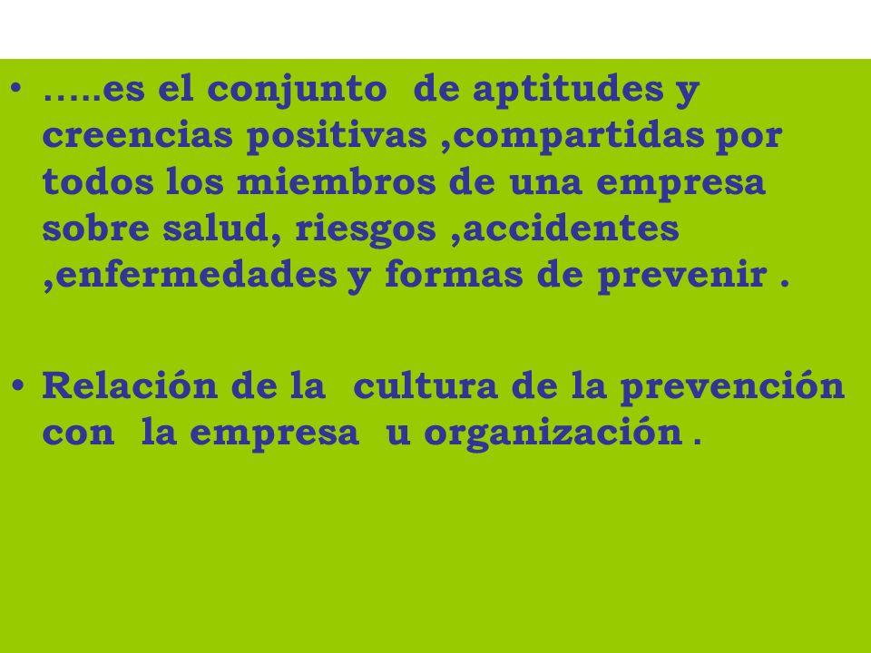…..es el conjunto de aptitudes y creencias positivas ,compartidas por todos los miembros de una empresa sobre salud, riesgos ,accidentes ,enfermedades y formas de prevenir .