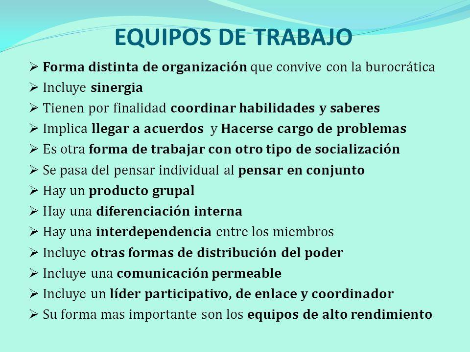 EQUIPOS DE TRABAJO Forma distinta de organización que convive con la burocrática. Incluye sinergia.