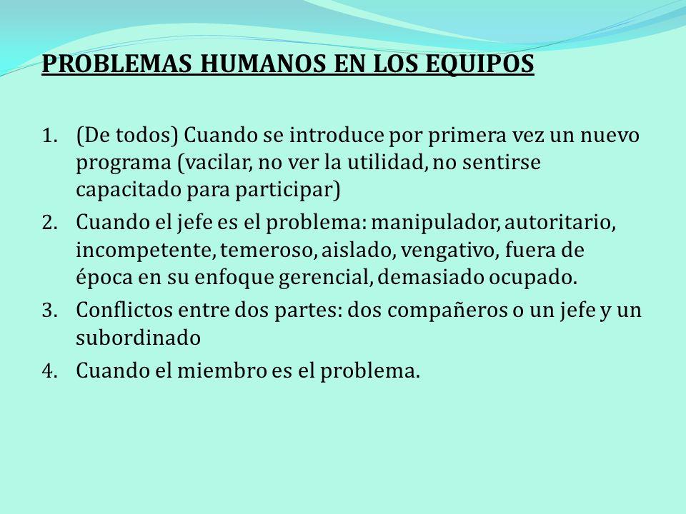 PROBLEMAS HUMANOS EN LOS EQUIPOS