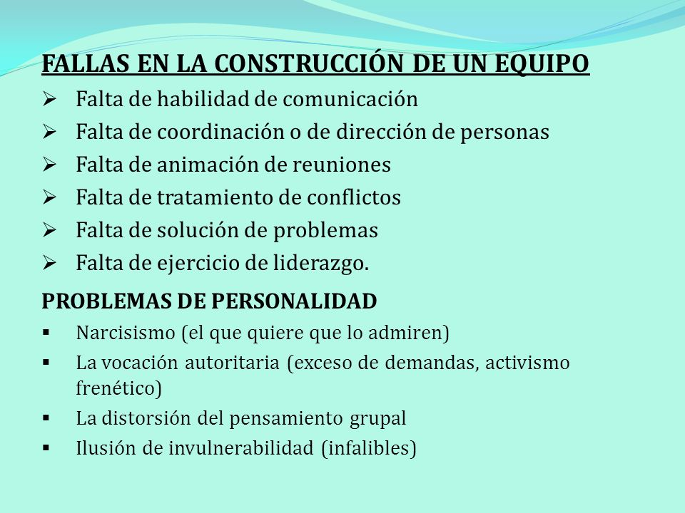 FALLAS EN LA CONSTRUCCIÓN DE UN EQUIPO