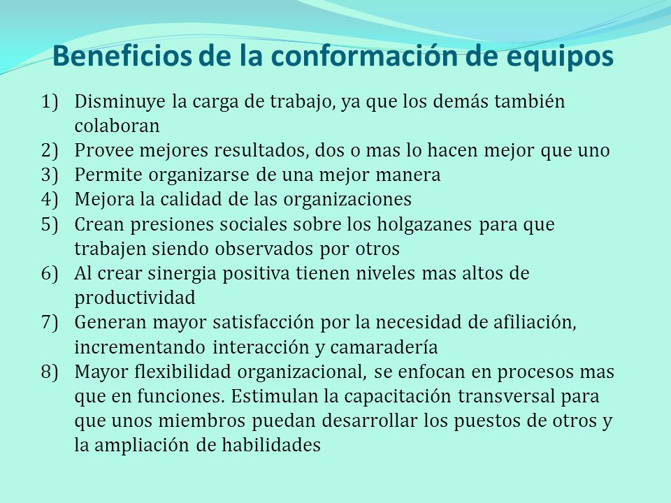 Beneficios de la conformación de equipos