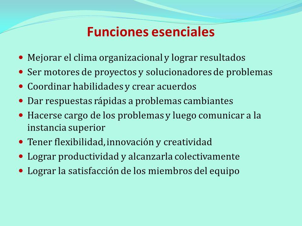 Funciones esenciales Mejorar el clima organizacional y lograr resultados. Ser motores de proyectos y solucionadores de problemas.