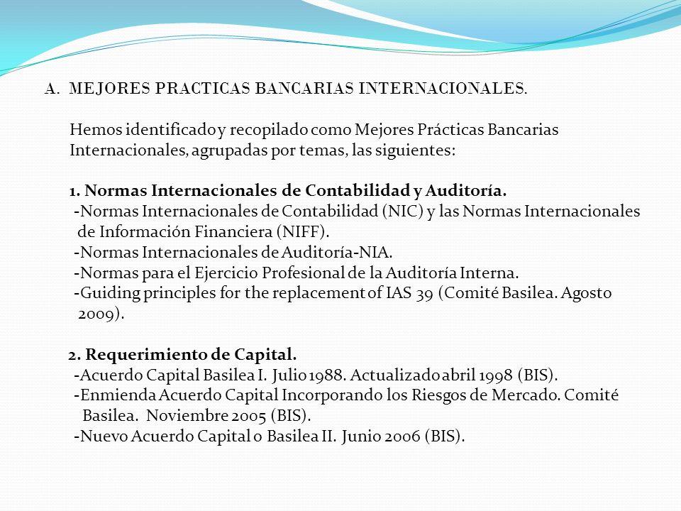 A. MEJORES PRACTICAS BANCARIAS INTERNACIONALES.