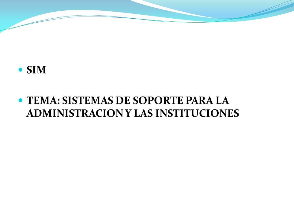 SIM TEMA: SISTEMAS DE SOPORTE PARA LA ADMINISTRACION Y LAS INSTITUCIONES