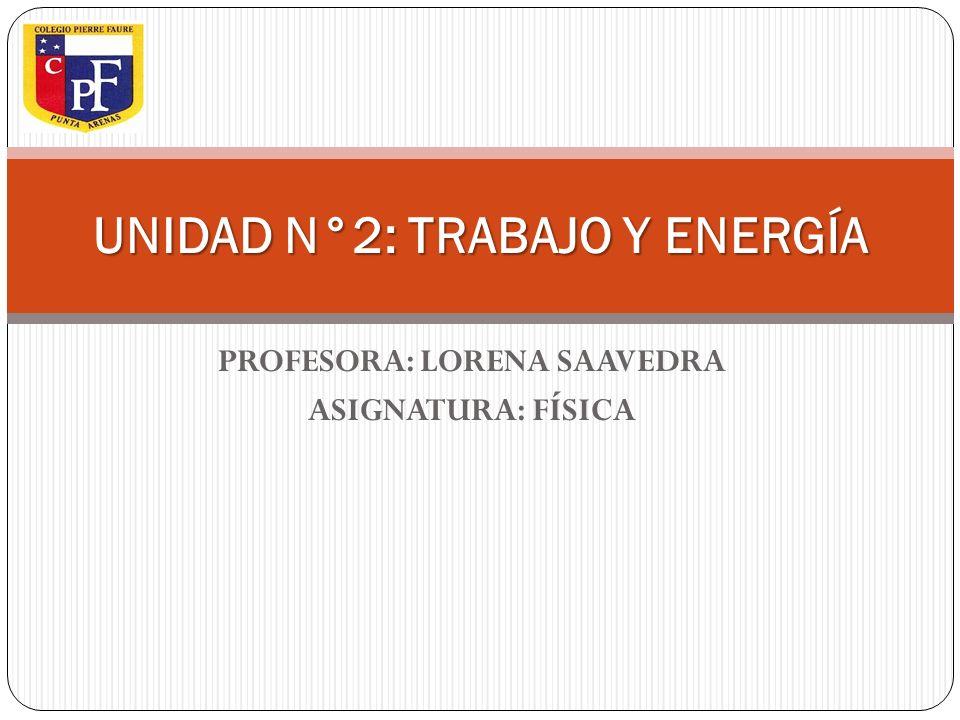 UNIDAD N°2: TRABAJO Y ENERGÍA