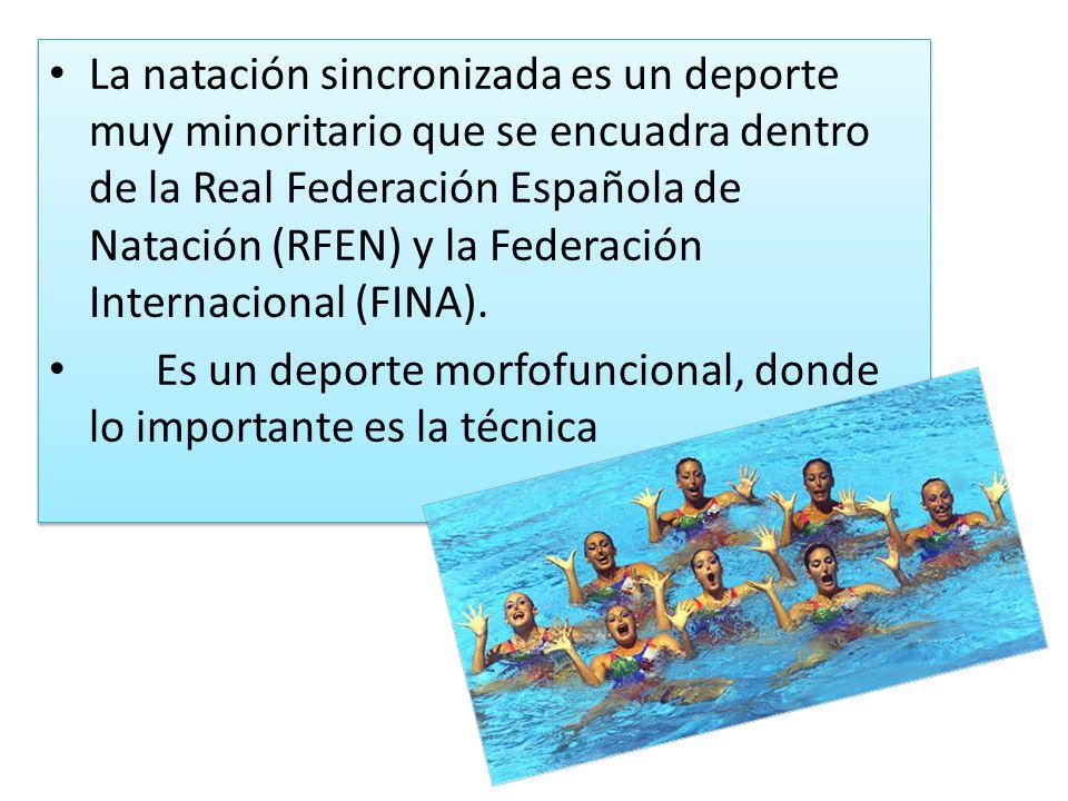 La natación sincronizada es un deporte muy minoritario que se encuadra dentro de la Real Federación Española de Natación (RFEN) y la Federación Internacional (FINA).