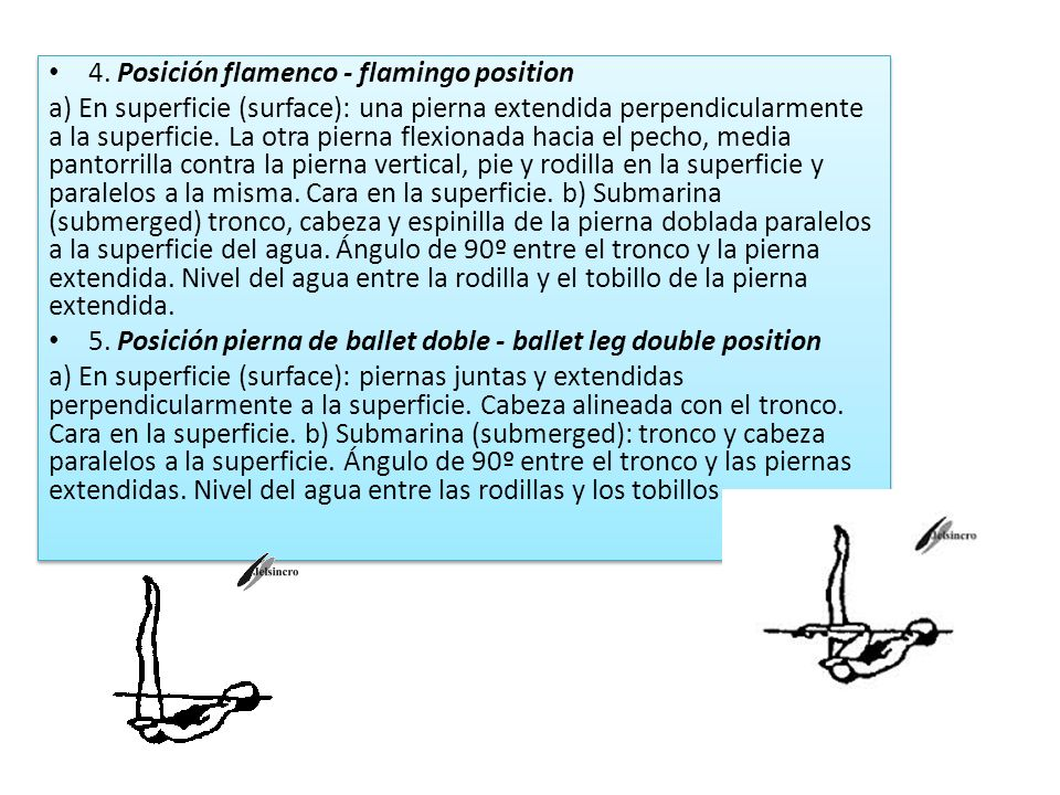 4. Posición flamenco - flamingo position