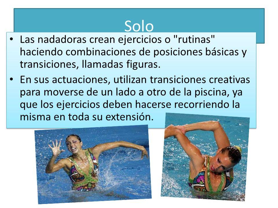 SoloLas nadadoras crean ejercicios o rutinas haciendo combinaciones de posiciones básicas y transiciones, llamadas figuras.