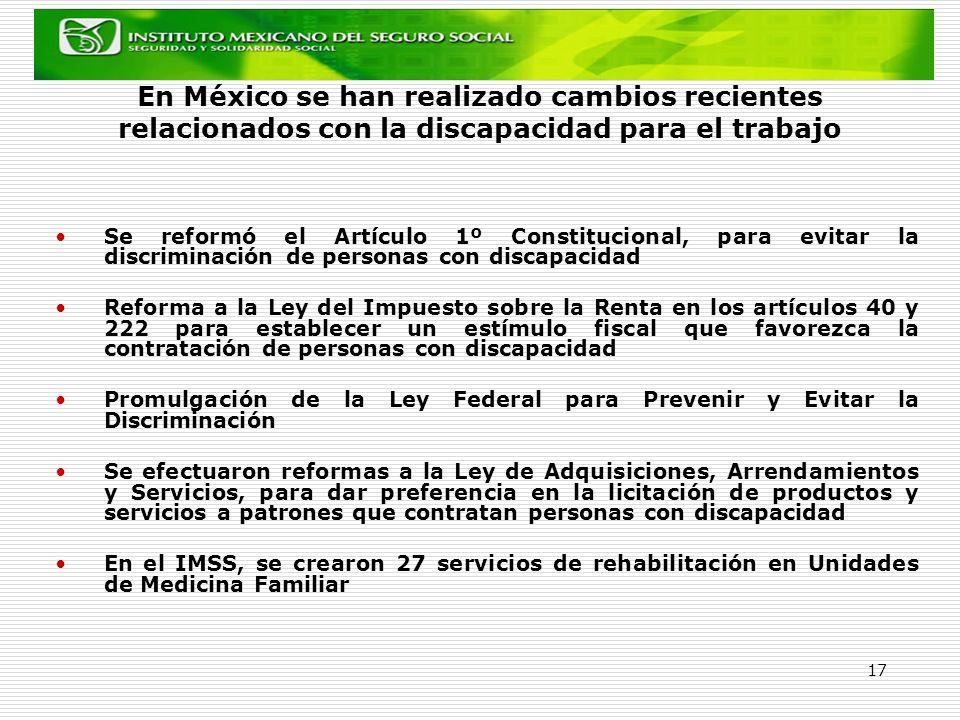 En México se han realizado cambios recientes relacionados con la discapacidad para el trabajo