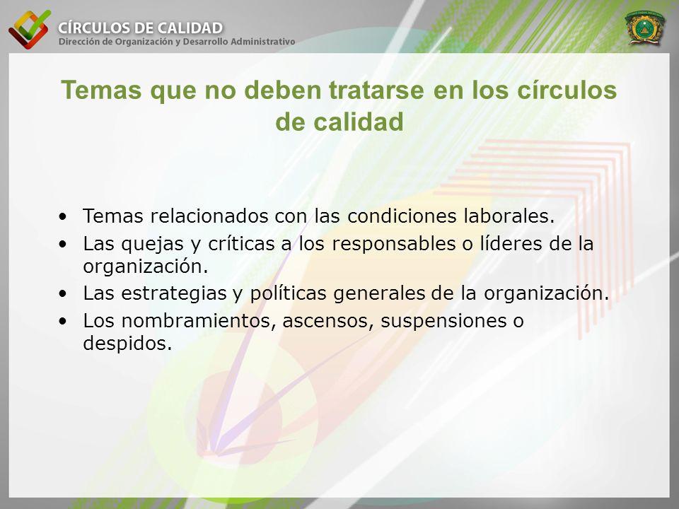Temas que no deben tratarse en los círculos de calidad