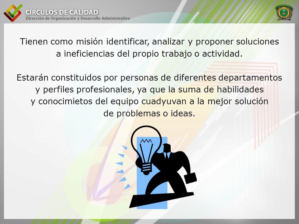 Tienen como misión identificar, analizar y proponer soluciones a ineficiencias del propio trabajo o actividad.