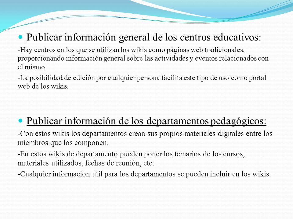 Publicar información general de los centros educativos: