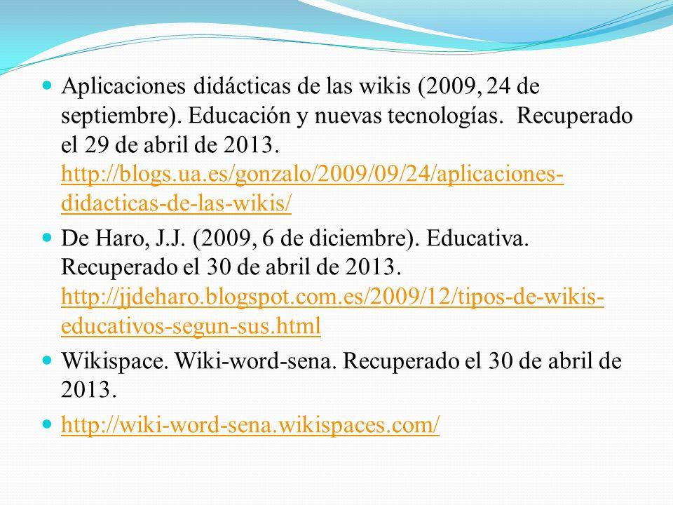 Aplicaciones didácticas de las wikis (2009, 24 de septiembre)