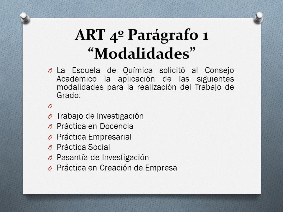 ART 4º Parágrafo 1 Modalidades