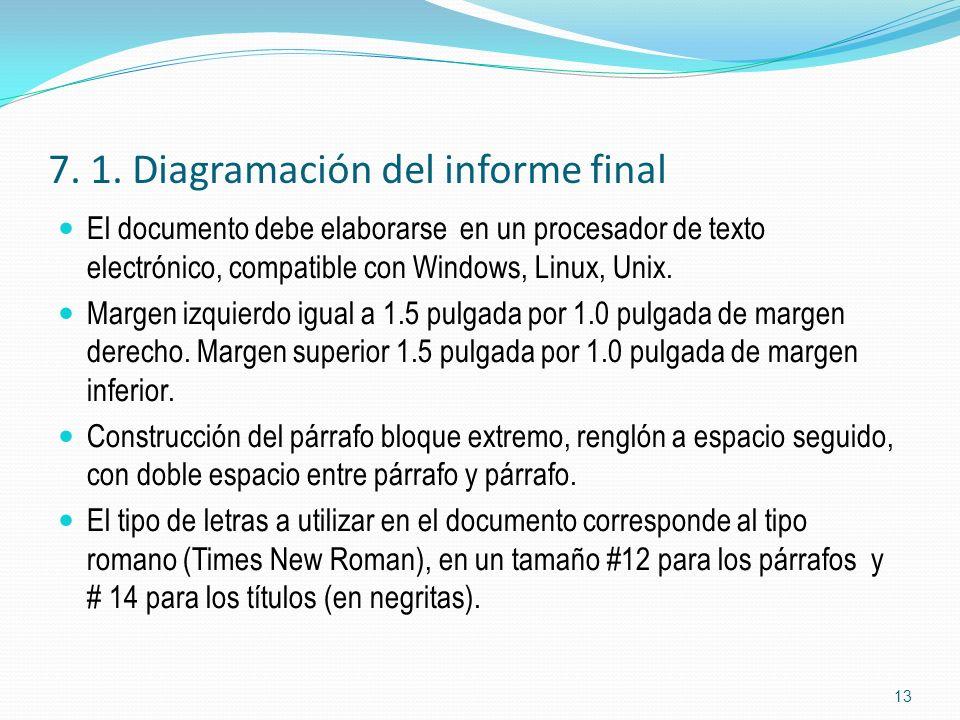 7. 1. Diagramación del informe final