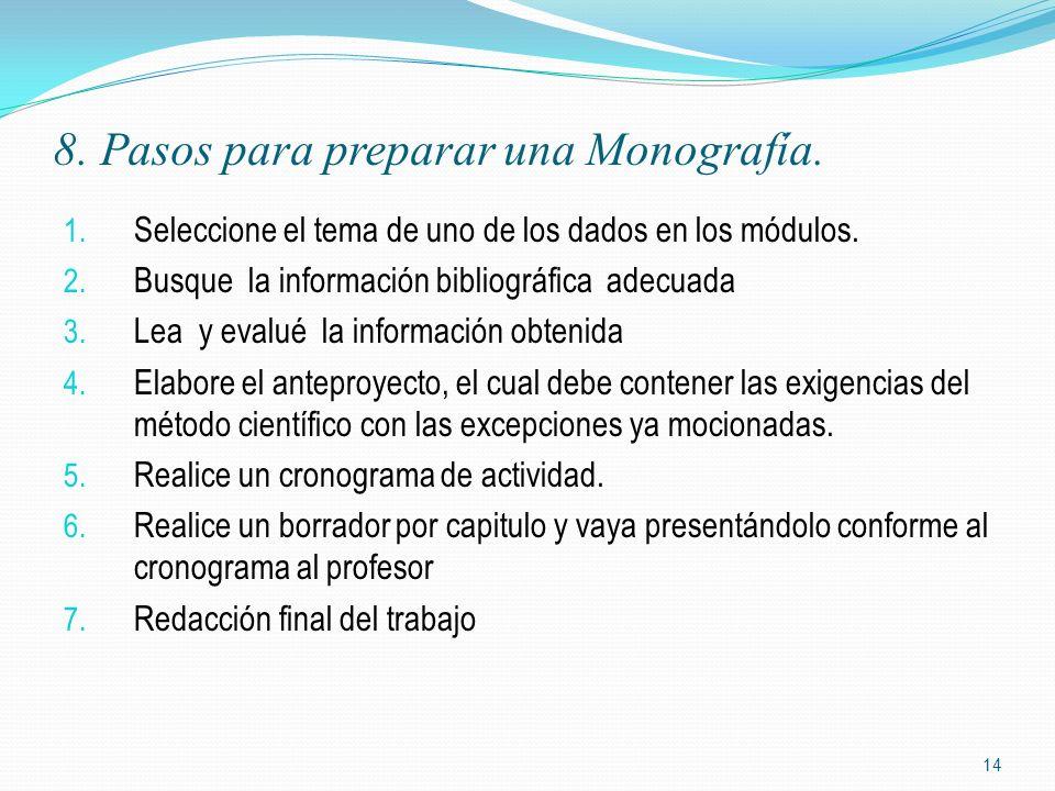 8. Pasos para preparar una Monografía.