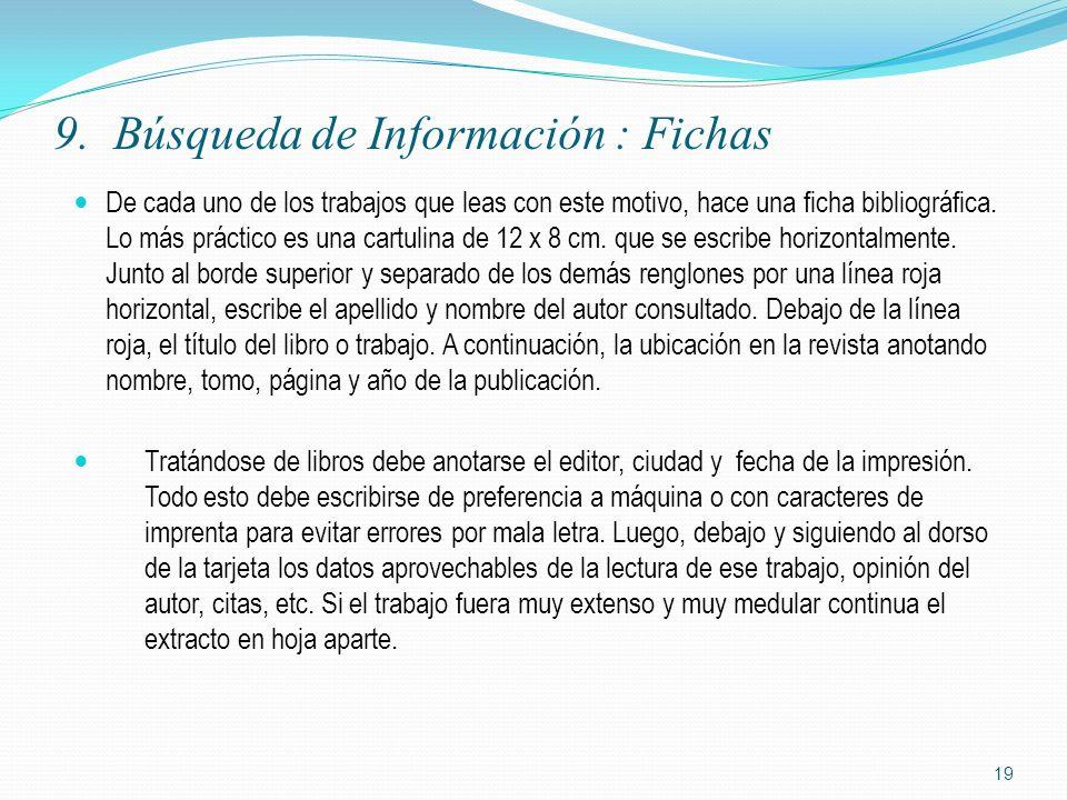 9. Búsqueda de Información : Fichas