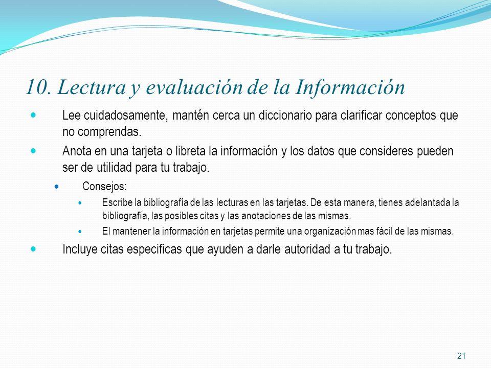 10. Lectura y evaluación de la Información