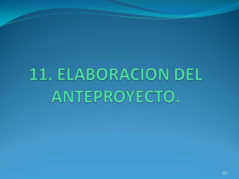 11. ELABORACION DEL ANTEPROYECTO.