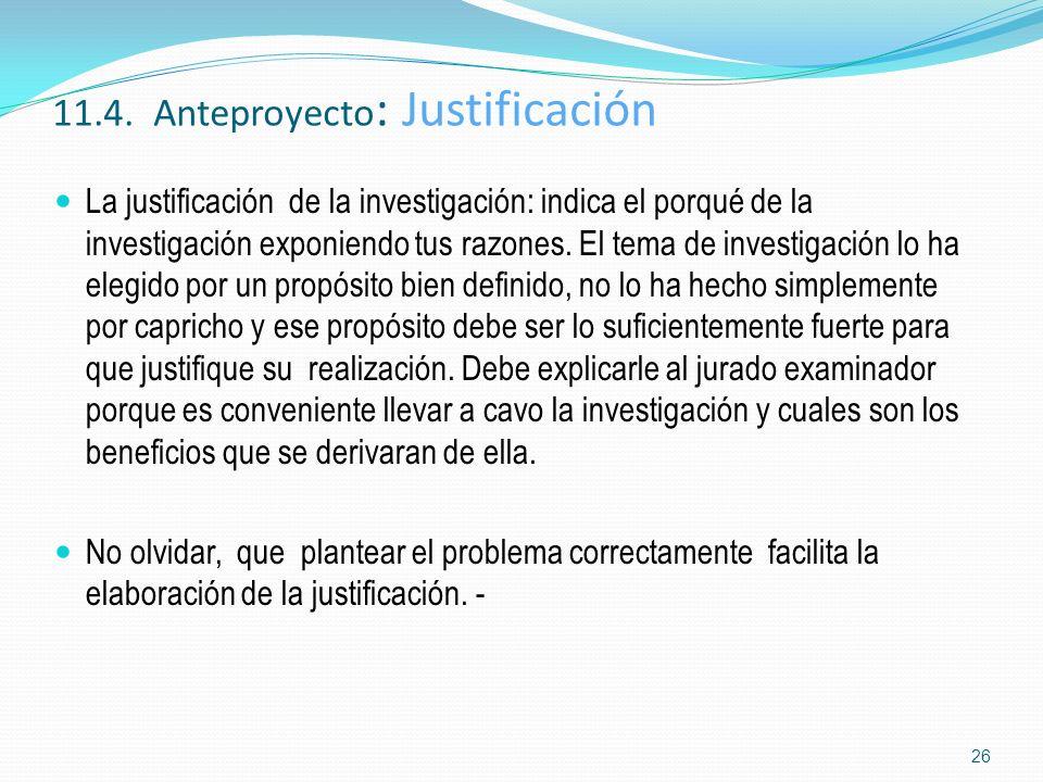 11.4. Anteproyecto: Justificación