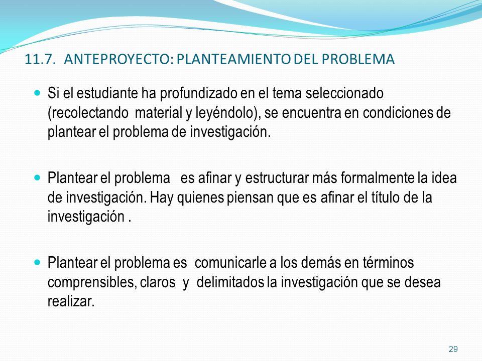 11.7. ANTEPROYECTO: PLANTEAMIENTO DEL PROBLEMA