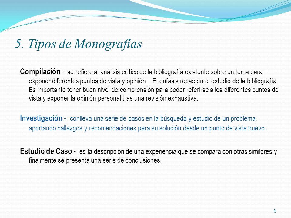 5. Tipos de Monografías