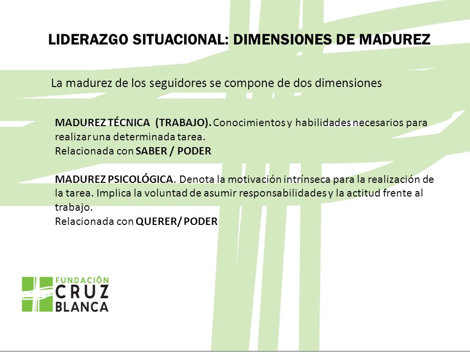 LIDERAZGO SITUACIONAL: DIMENSIONES DE MADUREZ