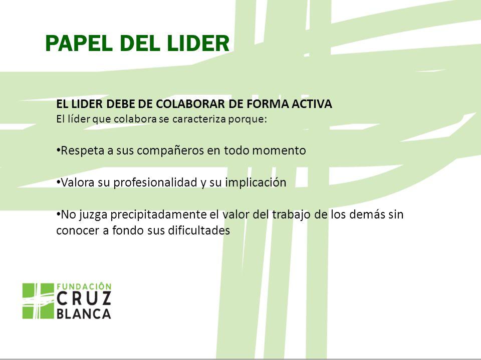 PAPEL DEL LIDER EL LIDER DEBE DE COLABORAR DE FORMA ACTIVA