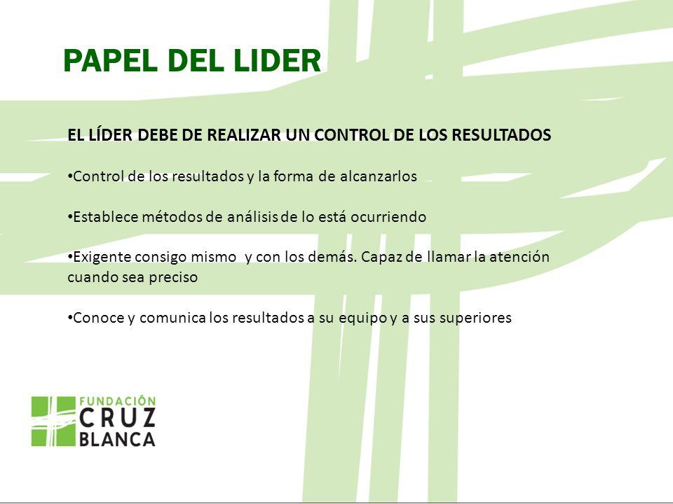 PAPEL DEL LIDER EL LÍDER DEBE DE REALIZAR UN CONTROL DE LOS RESULTADOS