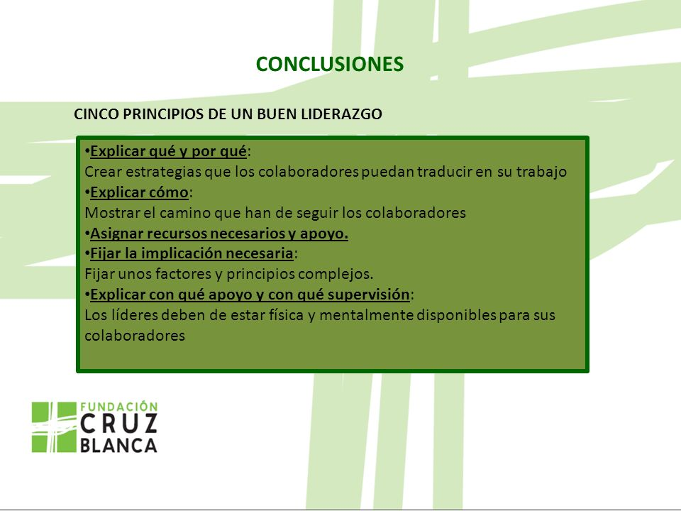 CONCLUSIONES CINCO PRINCIPIOS DE UN BUEN LIDERAZGO