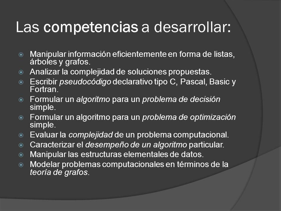 Las competencias a desarrollar: