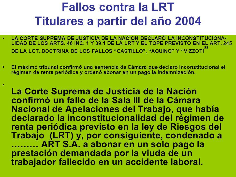 Fallos contra la LRT Titulares a partir del año 2004