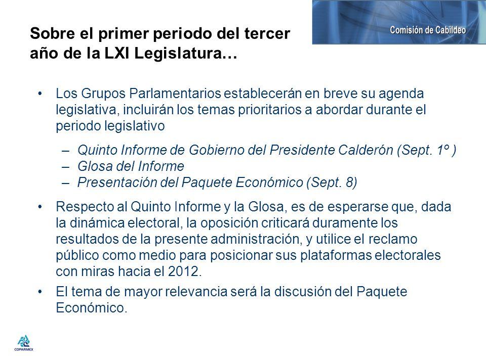 Sobre el primer periodo del tercer año de la LXI Legislatura…