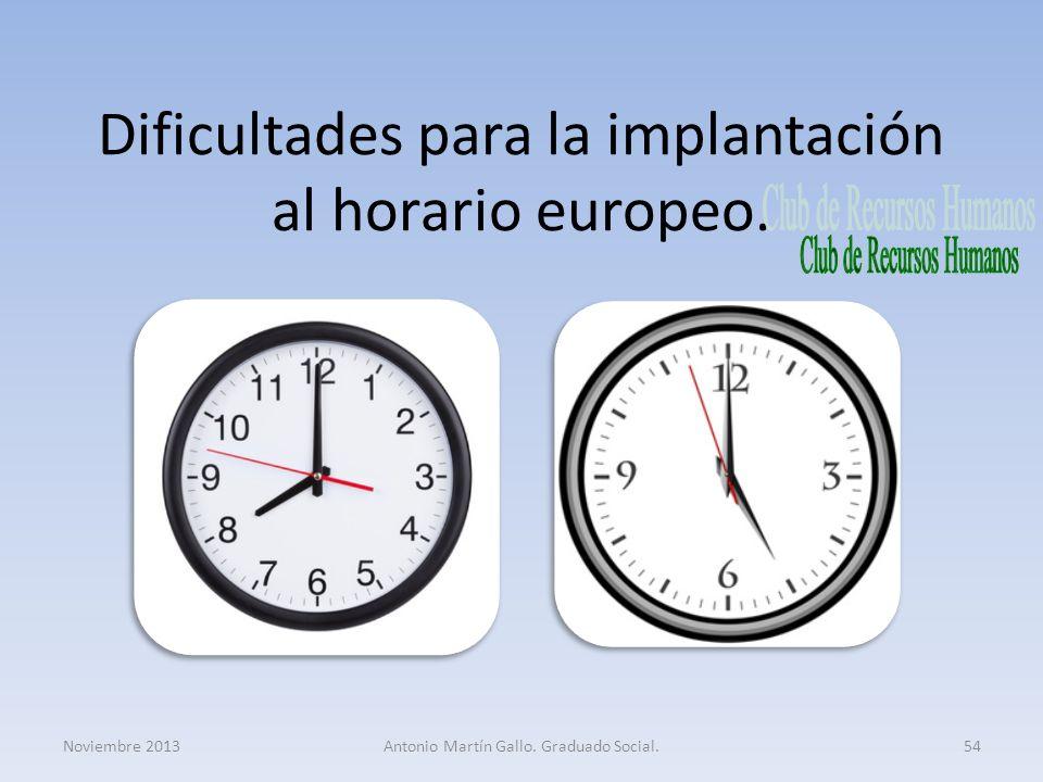 Dificultades para la implantación al horario europeo.