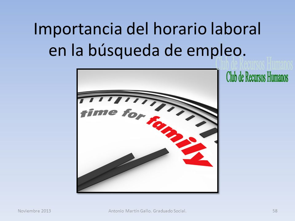 Importancia del horario laboral en la búsqueda de empleo.
