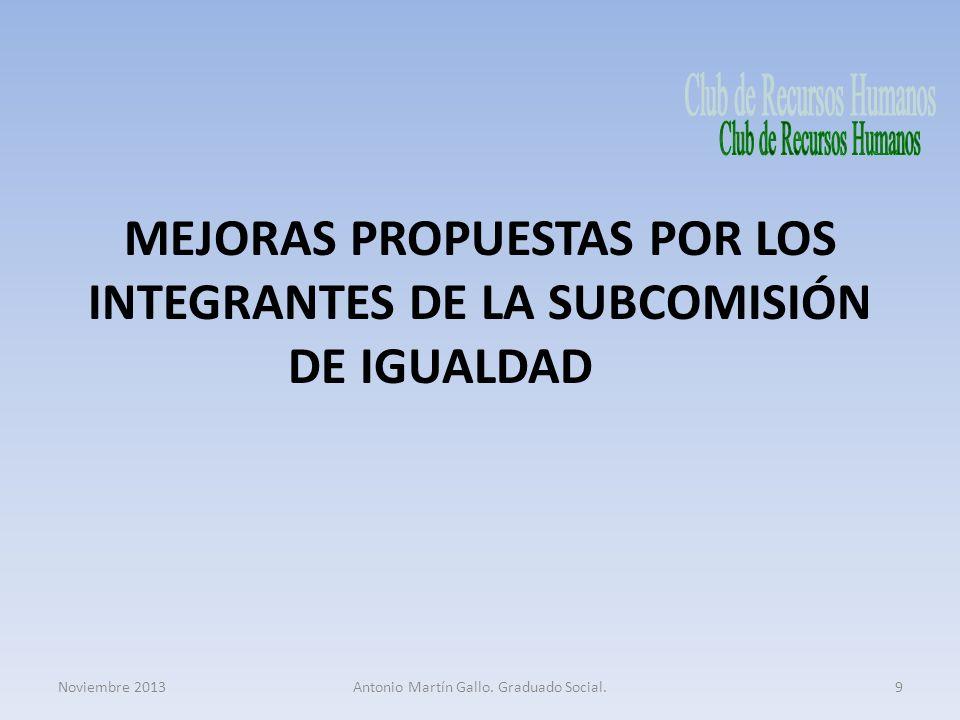 MEJORAS PROPUESTAS POR LOS INTEGRANTES DE LA SUBCOMISIÓN DE IGUALDAD