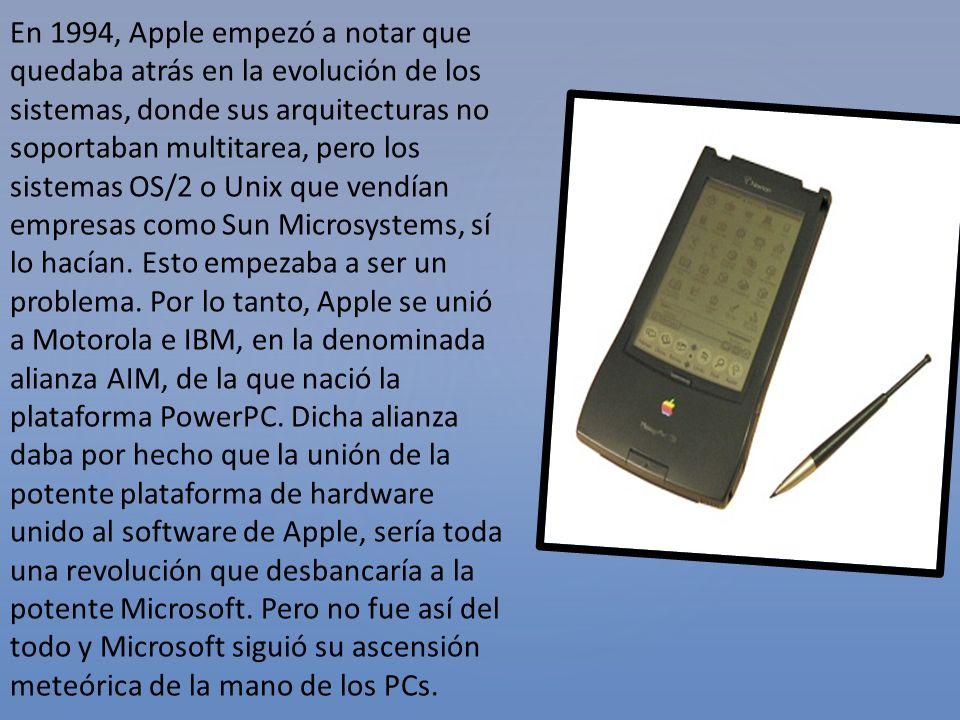 En 1994, Apple empezó a notar que quedaba atrás en la evolución de los sistemas, donde sus arquitecturas no soportaban multitarea, pero los sistemas OS/2 o Unix que vendían empresas como Sun Microsystems, sí lo hacían.